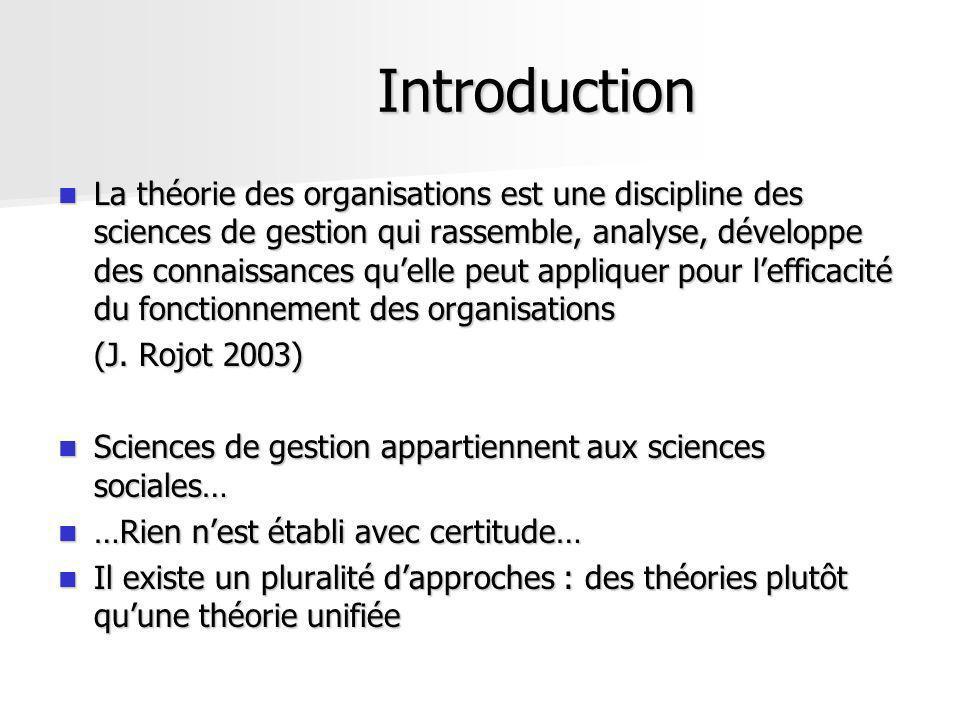 Introduction La théorie des organisations est une discipline des sciences de gestion qui rassemble, analyse, développe des connaissances quelle peut a