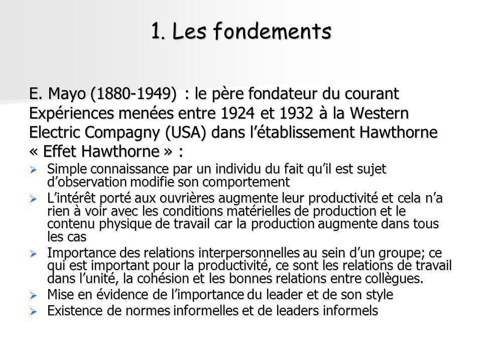 1. Les fondements E. Mayo (1880-1949) : le père fondateur du courant Expériences menées entre 1924 et 1932 à la Western Electric Compagny (USA) dans l