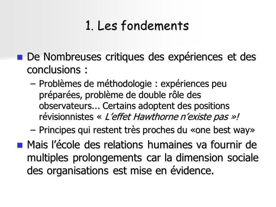 1. Les fondements De Nombreuses critiques des expériences et des conclusions : De Nombreuses critiques des expériences et des conclusions : –Problèmes
