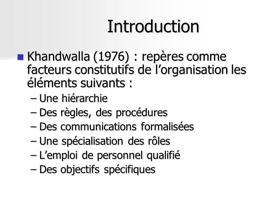 Introduction Khandwalla (1976) : repères comme facteurs constitutifs de lorganisation les éléments suivants : Khandwalla (1976) : repères comme facteu