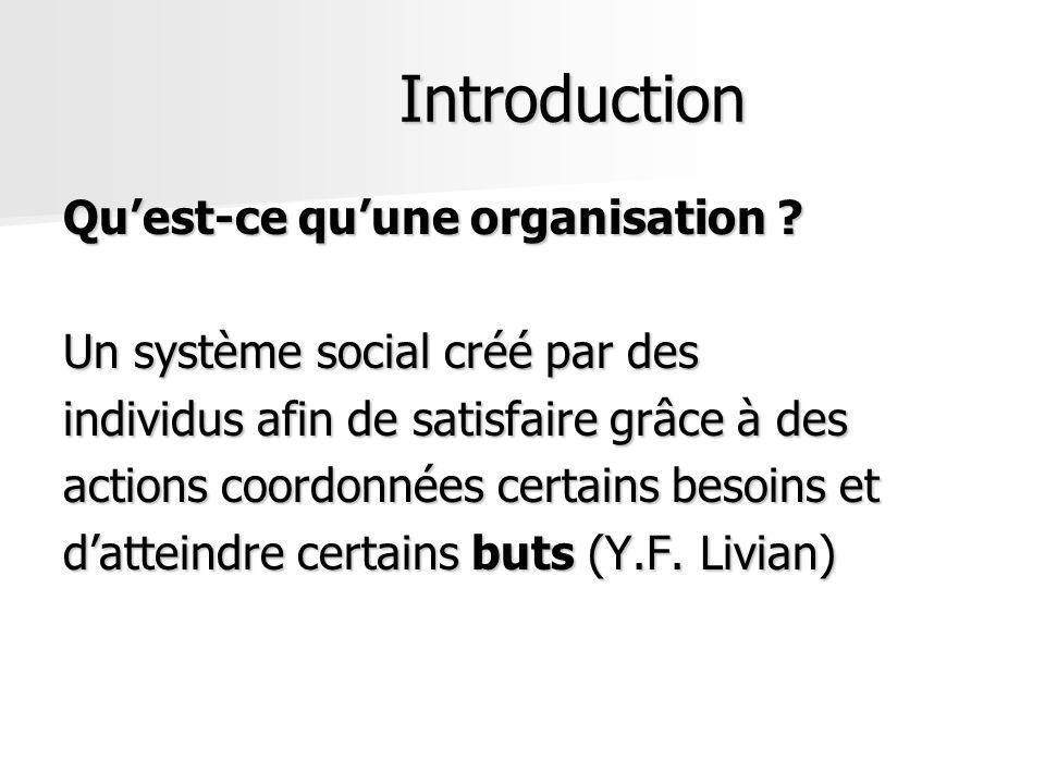 Introduction Quest-ce quune organisation ? Un système social créé par des individus afin de satisfaire grâce à des actions coordonnées certains besoin