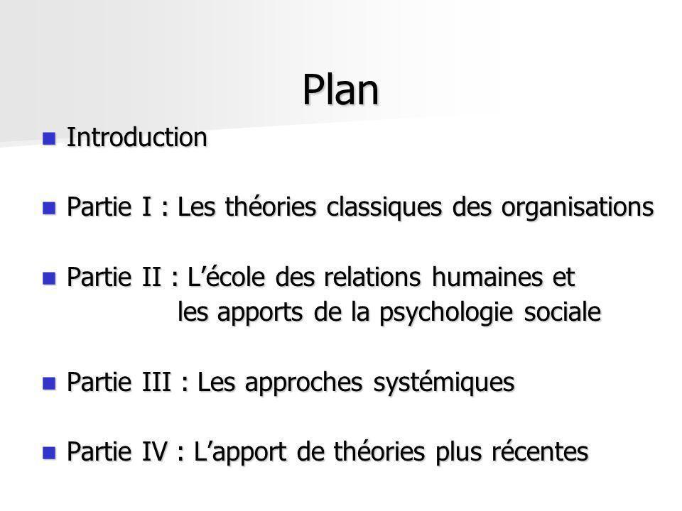 Plan Introduction Introduction Partie I : Les théories classiques des organisations Partie I : Les théories classiques des organisations Partie II : L