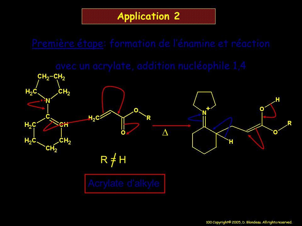 100 Copyright© 2005, D. Blondeau. All rights reserved. Application 2 R = H Acrylate dalkyle Première étape: formation de lénamine et réaction avec un