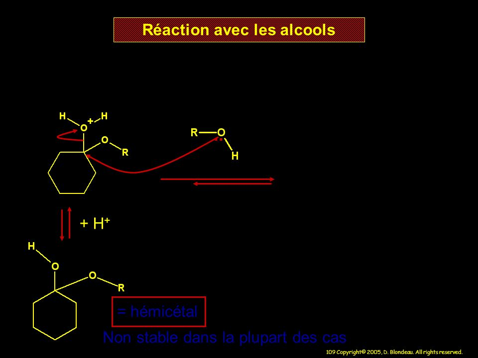 109 Copyright© 2005, D. Blondeau. All rights reserved. Réaction avec les alcools = hémicétal Non stable dans la plupart des cas + H +..