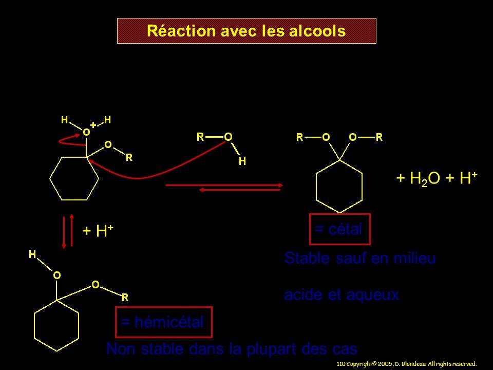 110 Copyright© 2005, D. Blondeau. All rights reserved. Réaction avec les alcools = hémicétal Non stable dans la plupart des cas + H + + H 2 O + H + =