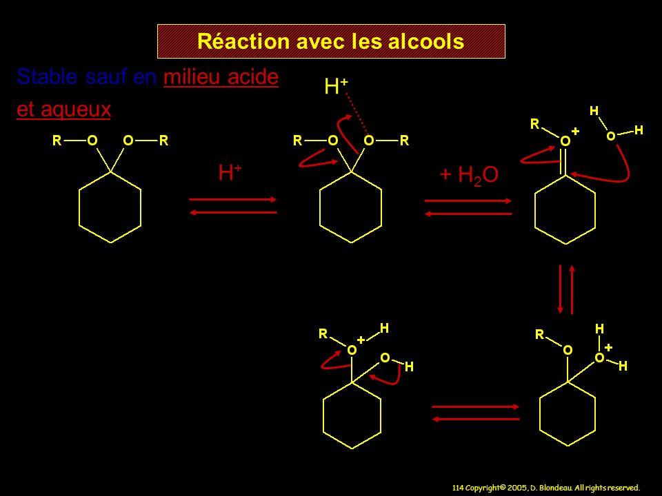 114 Copyright© 2005, D. Blondeau. All rights reserved. Réaction avec les alcools H+H+ H+H+ Stable sauf en milieu acide et aqueux + H 2 O