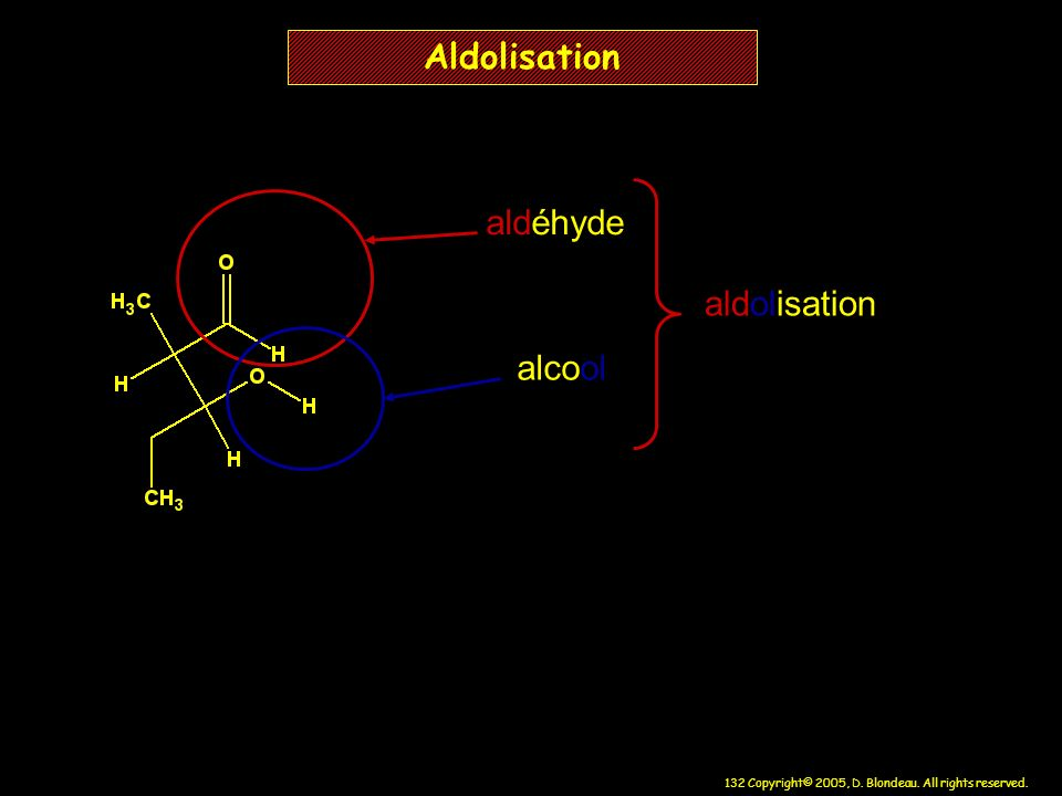 132 Copyright© 2005, D. Blondeau. All rights reserved. Aldolisation aldéhyde alcool aldolisation