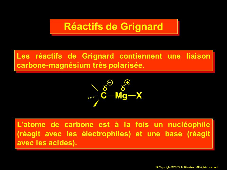 14 Copyright© 2005, D. Blondeau. All rights reserved. Les réactifs de Grignard contiennent une liaison carbone-magnésium très polarisée. CMgX Latome d