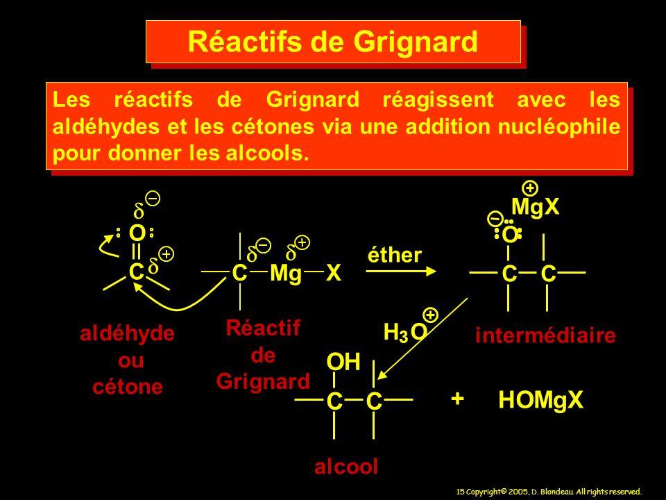 15 Copyright© 2005, D. Blondeau. All rights reserved. aldéhyde ou cétone CC O MgX HOMgX + alcool intermédiaire Réactif de Grignard Les réactifs de Gri