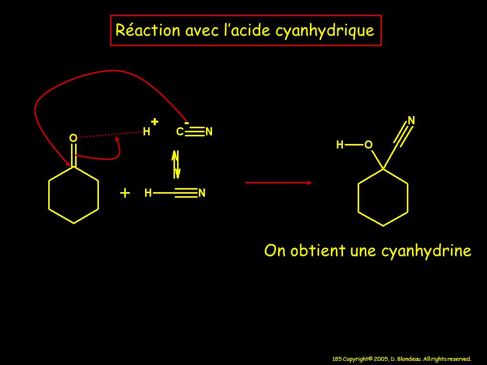 185 Copyright© 2005, D. Blondeau. All rights reserved. Réaction avec lacide cyanhydrique On obtient une cyanhydrine