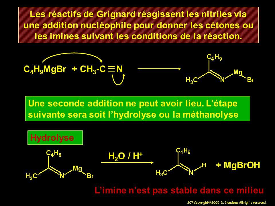 207 Copyright© 2005, D. Blondeau. All rights reserved. Les réactifs de Grignard réagissent les nitriles via une addition nucléophile pour donner les c