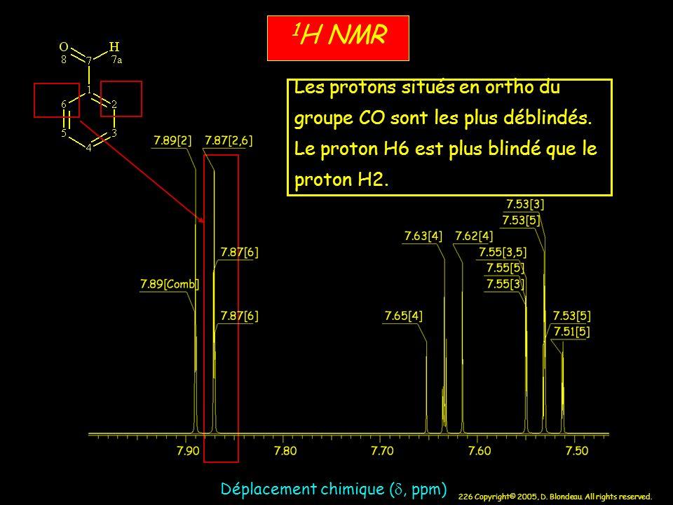 226 Copyright© 2005, D. Blondeau. All rights reserved. Déplacement chimique (, ppm) 1 H NMR Les protons situés en ortho du groupe CO sont les plus déb