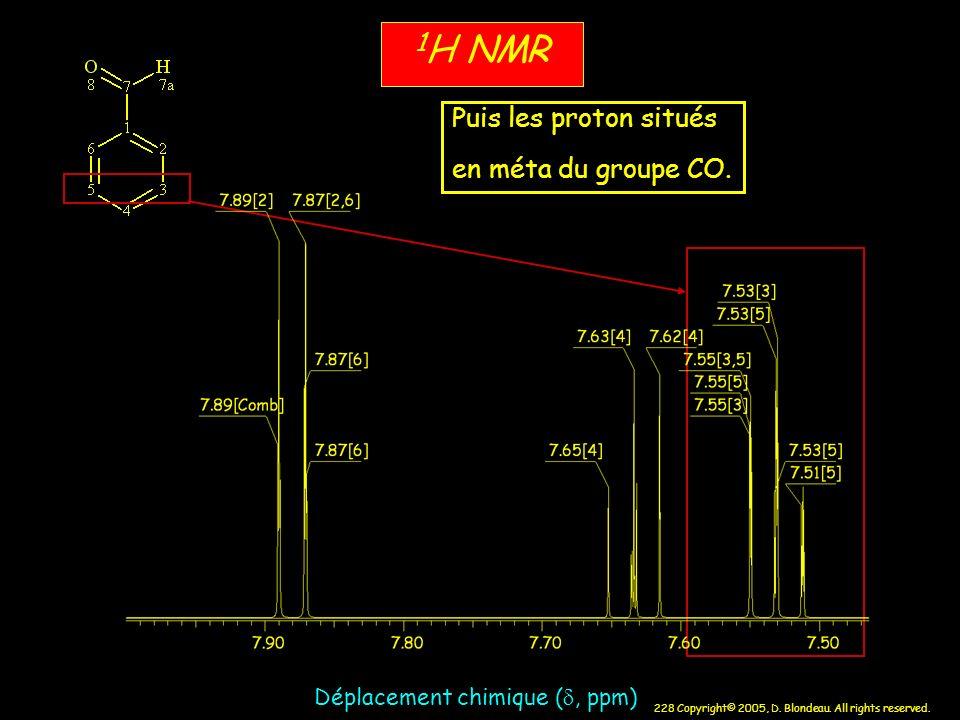 228 Copyright© 2005, D. Blondeau. All rights reserved. Déplacement chimique (, ppm) 1 H NMR Puis les proton situés en méta du groupe CO.