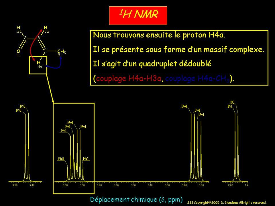 233 Copyright© 2005, D. Blondeau. All rights reserved. 1 H NMR Déplacement chimique (, ppm) Nous trouvons ensuite le proton H4a. Il se présente sous f