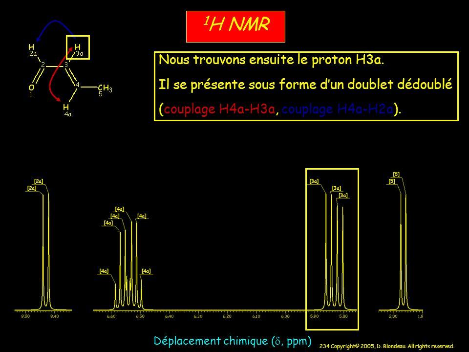 234 Copyright© 2005, D. Blondeau. All rights reserved. 1 H NMR Déplacement chimique (, ppm) Nous trouvons ensuite le proton H3a. Il se présente sous f
