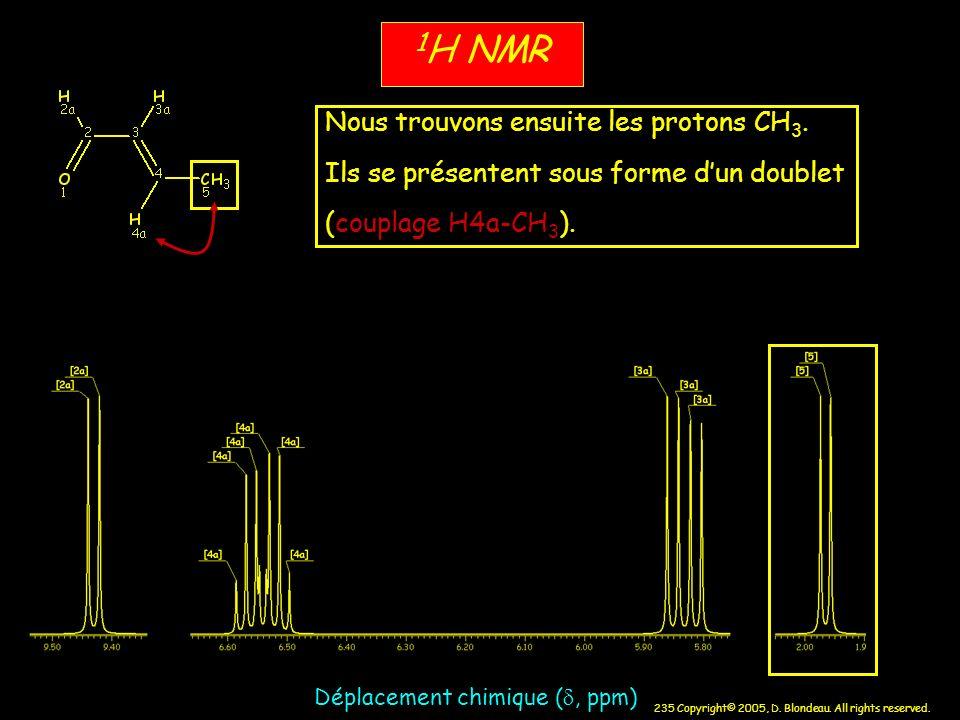 235 Copyright© 2005, D. Blondeau. All rights reserved. 1 H NMR Déplacement chimique (, ppm) Nous trouvons ensuite les protons CH 3. Ils se présentent