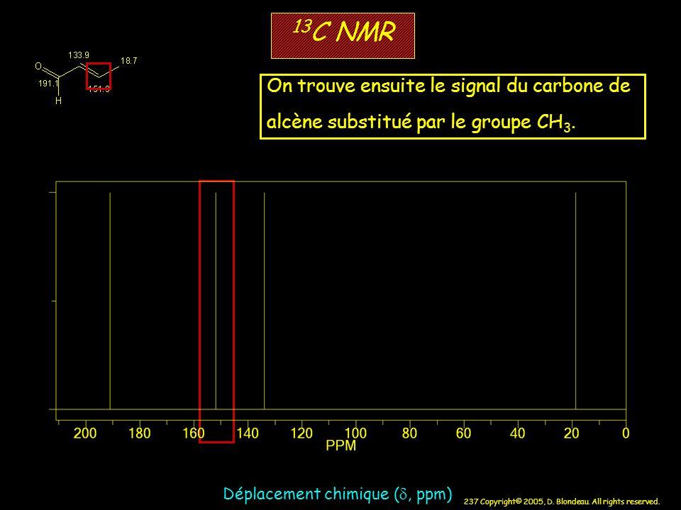 237 Copyright© 2005, D. Blondeau. All rights reserved. 13 C NMR Déplacement chimique (, ppm) On trouve ensuite le signal du carbone de alcène substitu