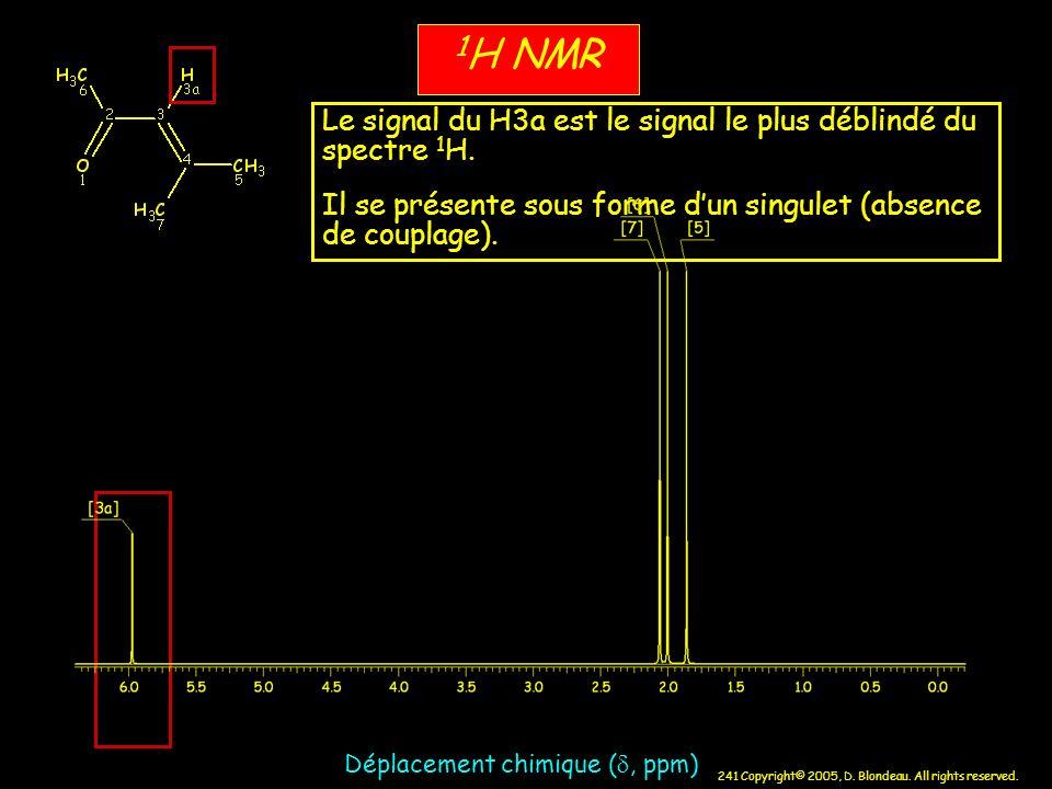 241 Copyright© 2005, D. Blondeau. All rights reserved. 1 H NMR Déplacement chimique (, ppm) Le signal du H3a est le signal le plus déblindé du spectre