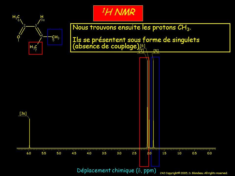 242 Copyright© 2005, D. Blondeau. All rights reserved. 1 H NMR Déplacement chimique (, ppm) Nous trouvons ensuite les protons CH 3. Ils se présentent