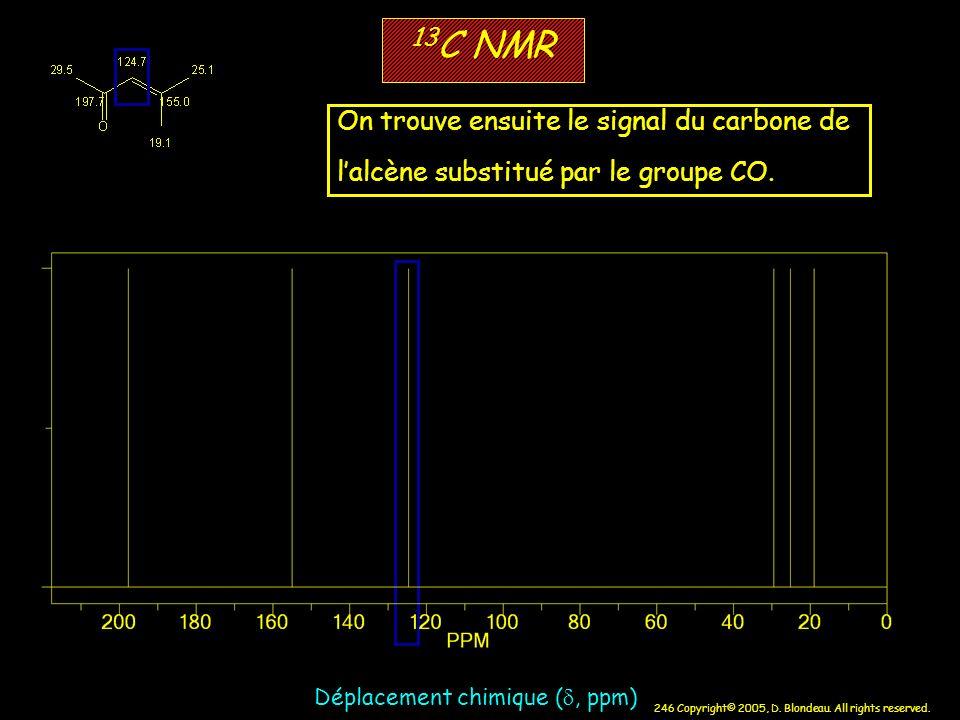 246 Copyright© 2005, D. Blondeau. All rights reserved. 13 C NMR Déplacement chimique (, ppm) On trouve ensuite le signal du carbone de lalcène substit