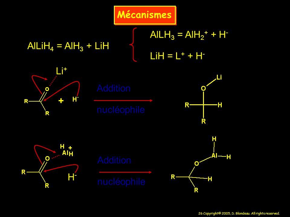 26 Copyright© 2005, D. Blondeau. All rights reserved. Mécanismes AlLiH 4 = AlH 3 + LiH AlLH 3 = AlH 2 + + H - LiH = L + + H - Li + H-H- Addition nuclé