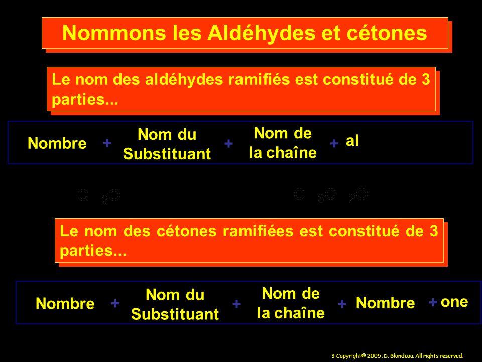 3 Copyright© 2005, D. Blondeau. All rights reserved. Nombre Nom du Substituant Nom de la chaîne + + Le nom des aldéhydes ramifiés est constitué de 3 p