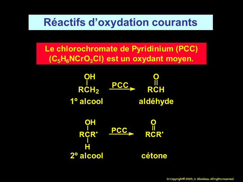 31 Copyright© 2005, D. Blondeau. All rights reserved. Réactifs doxydation courants Le chlorochromate de Pyridinium (PCC) (C 5 H 6 NCrO 3 Cl) est un ox