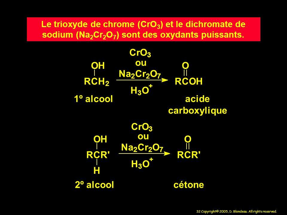 32 Copyright© 2005, D. Blondeau. All rights reserved. Le trioxyde de chrome (CrO 3 ) et le dichromate de sodium (Na 2 Cr 2 O 7 ) sont des oxydants pui