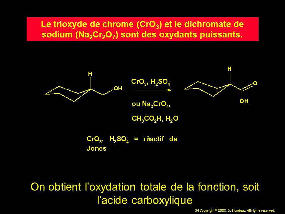 34 Copyright© 2005, D. Blondeau. All rights reserved. Le trioxyde de chrome (CrO 3 ) et le dichromate de sodium (Na 2 Cr 2 O 7 ) sont des oxydants pui