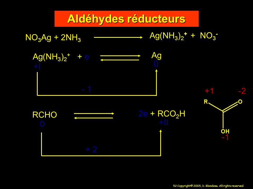 52 Copyright© 2005, D. Blondeau. All rights reserved. Aldéhydes réducteurs NO 3 Ag + 2NH 3 Ag(NH 3 ) 2 + + NO 3 - Ag(NH 3 ) 2 + + e Ag - 1 RCHO 2e + R