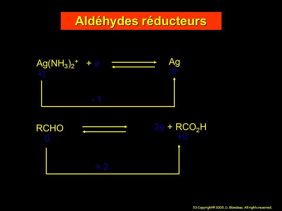 53 Copyright© 2005, D. Blondeau. All rights reserved. Aldéhydes réducteurs Ag(NH 3 ) 2 + + e - 1 RCHO 2e + RCO 2 H +I 0 0 +II + 2 Ag