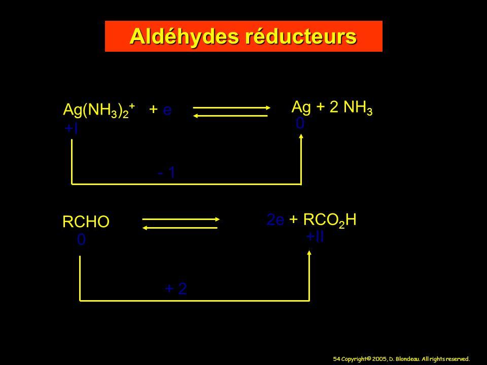 54 Copyright© 2005, D. Blondeau. All rights reserved. Aldéhydes réducteurs - 1 RCHO 2e + RCO 2 H +I 0 0 +II + 2 Ag + 2 NH 3 Ag(NH 3 ) 2 + + e