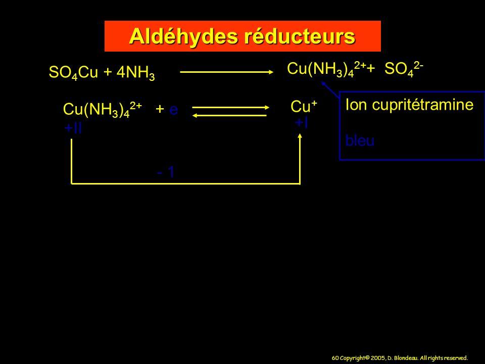 60 Copyright© 2005, D. Blondeau. All rights reserved. Aldéhydes réducteurs SO 4 Cu + 4NH 3 Cu(NH 3 ) 4 2+ + SO 4 2- Cu(NH 3 ) 4 2+ + e Cu + - 1 +II +I