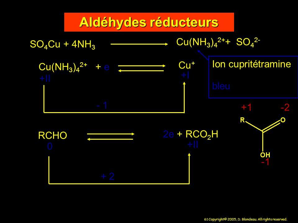61 Copyright© 2005, D. Blondeau. All rights reserved. Aldéhydes réducteurs SO 4 Cu + 4NH 3 Cu(NH 3 ) 4 2+ + SO 4 2- Cu(NH 3 ) 4 2+ + e Cu + - 1 RCHO 2