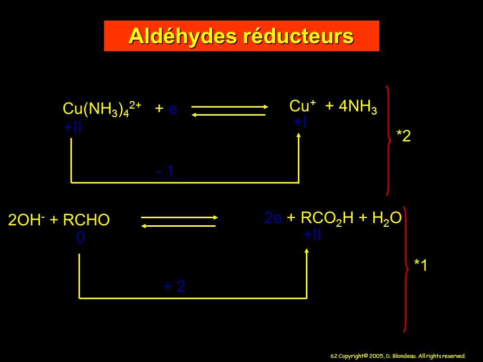 62 Copyright© 2005, D. Blondeau. All rights reserved. Cu(NH 3 ) 4 2+ + e Cu + + 4NH 3 - 1 2OH - + RCHO 2e + RCO 2 H + H 2 O +II +I 0 +II + 2 Aldéhydes