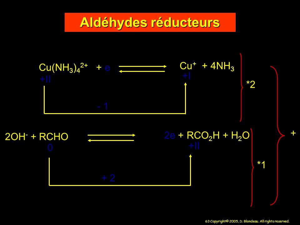 63 Copyright© 2005, D. Blondeau. All rights reserved. Cu(NH 3 ) 4 2+ + e Cu + + 4NH 3 - 1 2OH - + RCHO 2e + RCO 2 H + H 2 O +II +I 0 +II + 2 Aldéhydes