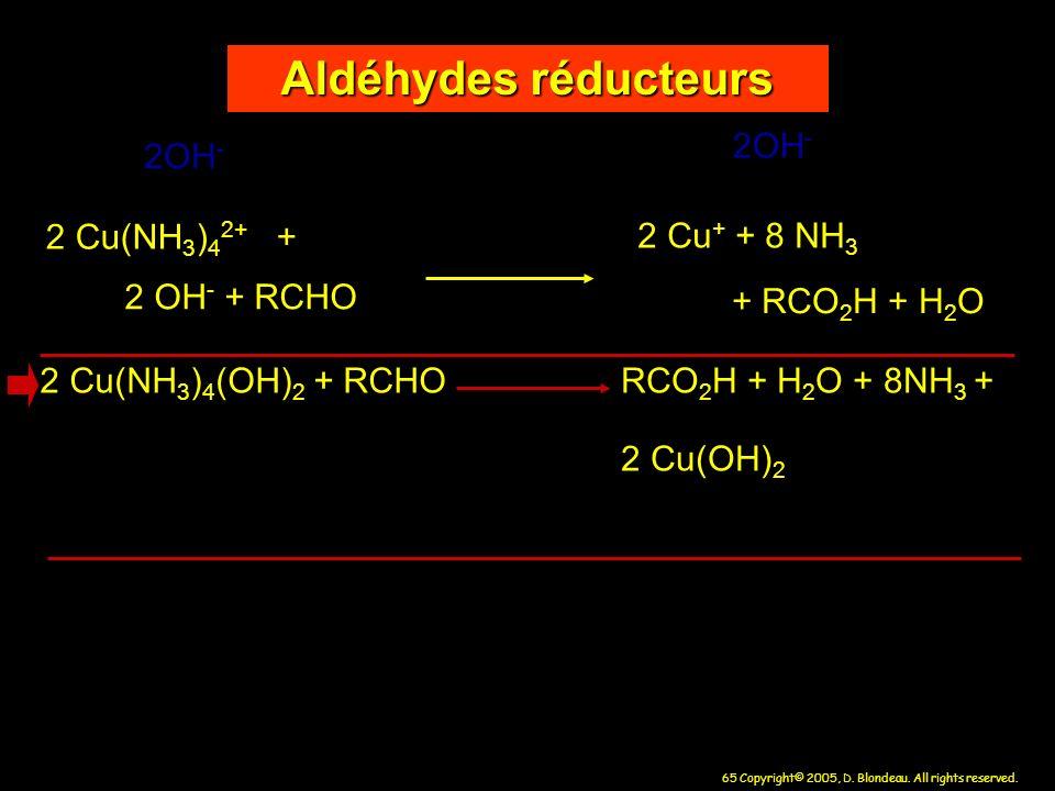 65 Copyright© 2005, D. Blondeau. All rights reserved. Aldéhydes réducteurs 2 Cu + + 8 NH 3 2 Cu(NH 3 ) 4 2+ + 2 OH - + RCHO + RCO 2 H + H 2 O 2 Cu(NH