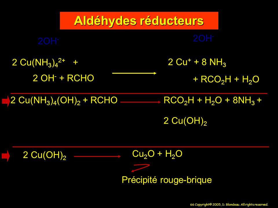 66 Copyright© 2005, D. Blondeau. All rights reserved. Aldéhydes réducteurs 2 Cu + + 8 NH 3 2 Cu(NH 3 ) 4 2+ + 2 OH - + RCHO + RCO 2 H + H 2 O 2 Cu(NH