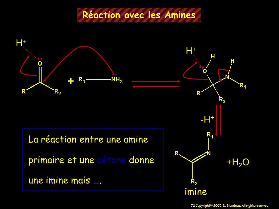 72 Copyright© 2005, D. Blondeau. All rights reserved. Réaction avec les Amines.. H+H+ +H 2 O La réaction entre une amine primaire et une cétone donne