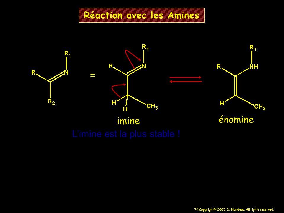 74 Copyright© 2005, D. Blondeau. All rights reserved. = imine énamine Limine est la plus stable ! Réaction avec les Amines