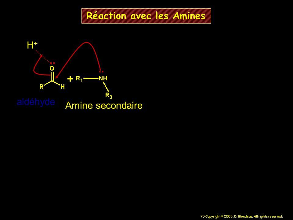 75 Copyright© 2005, D. Blondeau. All rights reserved. Réaction avec les Amines.. H+H+ aldéhyde Amine secondaire..
