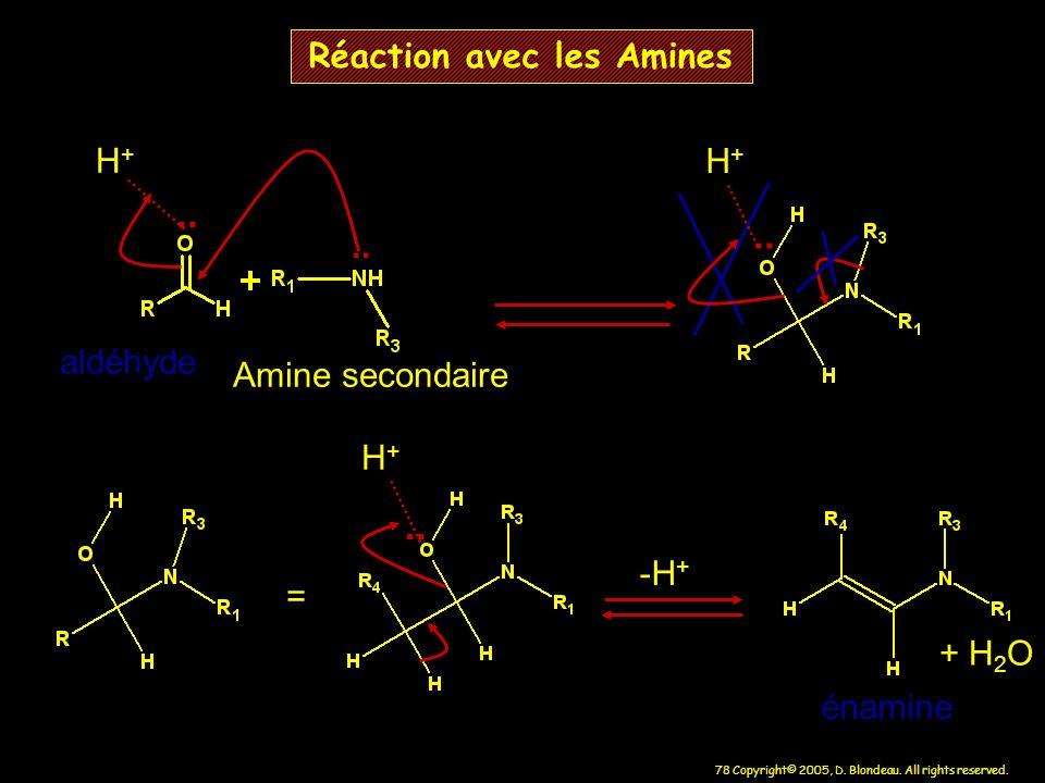 78 Copyright© 2005, D. Blondeau. All rights reserved. Réaction avec les Amines.. H+H+ = H+H+ énamine aldéhyde Amine secondaire -H + + H 2 O H+H+..