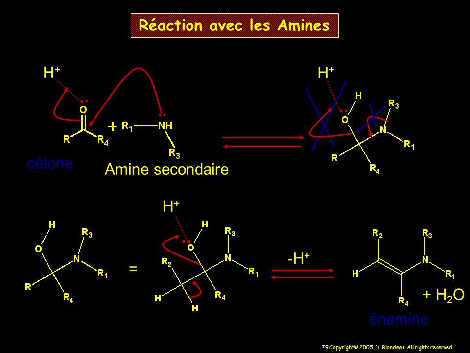 79 Copyright© 2005, D. Blondeau. All rights reserved. Réaction avec les Amines.. H+H+ = H+H+ énamine cétone Amine secondaire + H 2 O -H +.. H+H+