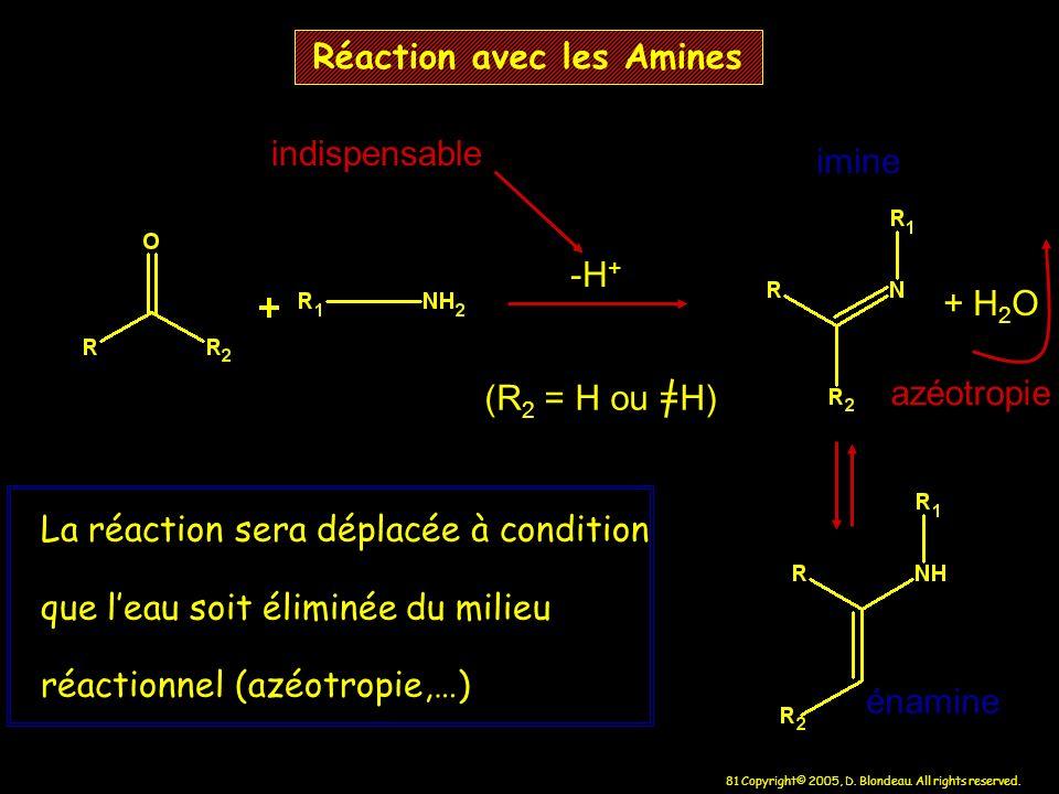 81 Copyright© 2005, D. Blondeau. All rights reserved. Réaction avec les Amines -H + + H 2 O (R 2 = H ou =H) La réaction sera déplacée à condition que