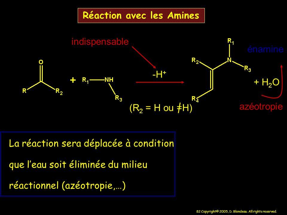 82 Copyright© 2005, D. Blondeau. All rights reserved. Réaction avec les Amines -H + + H 2 O (R 2 = H ou =H) La réaction sera déplacée à condition que
