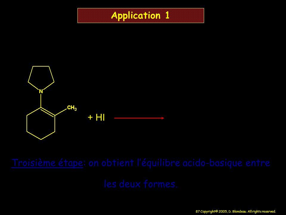 87 Copyright© 2005, D. Blondeau. All rights reserved. + HI Application 1 Troisième étape: on obtient léquilibre acido-basique entre les deux formes.