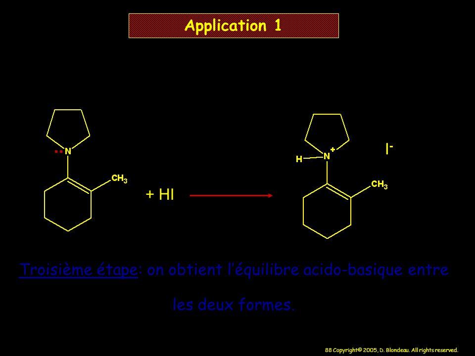 88 Copyright© 2005, D. Blondeau. All rights reserved. + HI I-I- Application 1 Troisième étape: on obtient léquilibre acido-basique entre les deux form