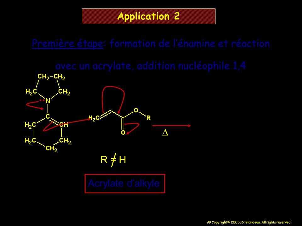 99 Copyright© 2005, D. Blondeau. All rights reserved. Application 2 R = H Acrylate dalkyle Première étape: formation de lénamine et réaction avec un a
