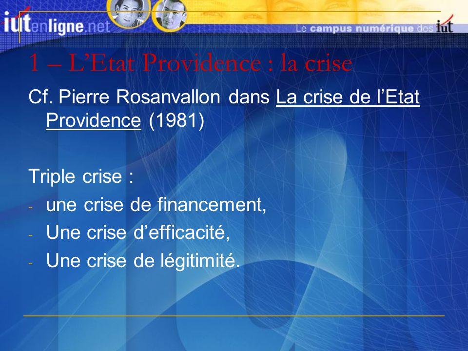 1 – LEtat Providence : la crise Cf. Pierre Rosanvallon dans La crise de lEtat Providence (1981) Triple crise : - une crise de financement, - Une crise