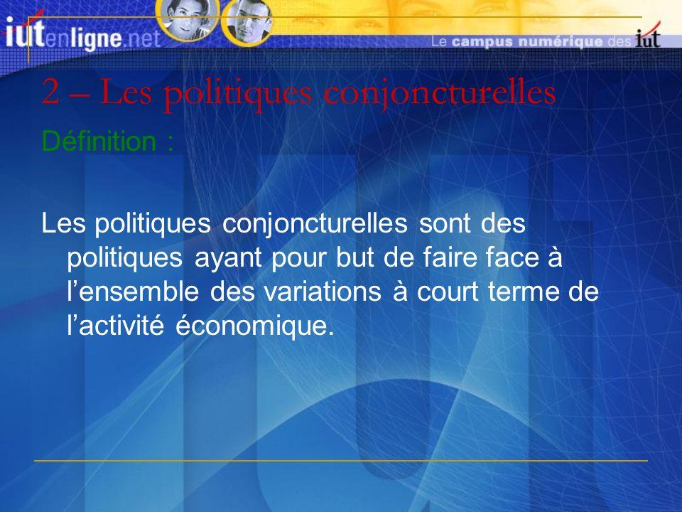 2 – Les politiques conjoncturelles Définition : Les politiques conjoncturelles sont des politiques ayant pour but de faire face à lensemble des variat